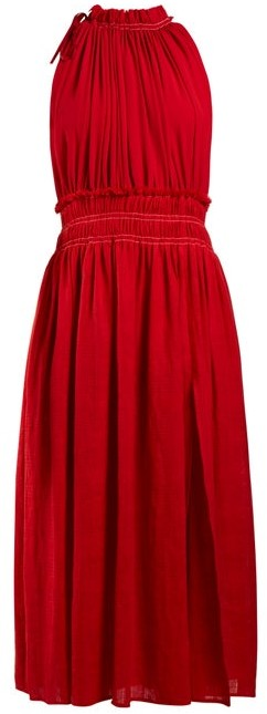 Altuzarra Vivienne Gathered Cotton Dress - Womens - Red