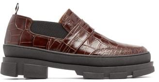 Ganni Flatform Crocodile-effect Leather Loafers - Womens - Dark Brown