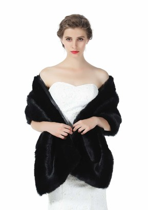 BEAUTELICATE Faux Fur Shawl Stole Wrap Womens Bridal Wedding Long Shrug Cape for Bridesmaid Evening Winter Gray