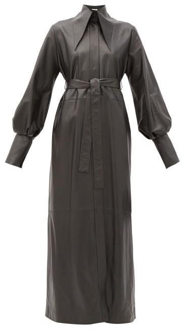16Arlington Namika Belted Leather Maxi Shirt Dress - Black