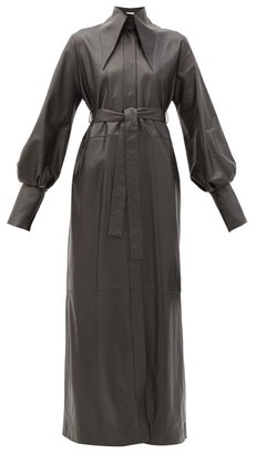 16Arlington Namika Belted Leather Maxi Shirt Dress - Black