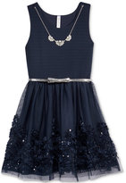 Beautees Sleeveless Sequin-Trim Dress, Big Girls (7-16)