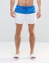 Asos Swim Shorts In White With Blue Panel In Short Length