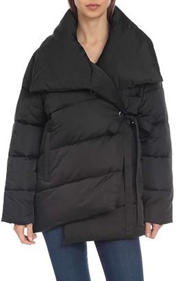 AVEC LES FILLES Asymmetric Puffer Jacket (Black) Women's Coat