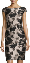 Vera Wang Cap-Sleeve Jacquard Sheath Cocktail Dress, Blue/White
