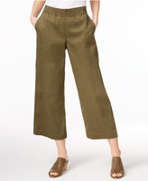 Eileen Fisher Organic Cotton-Blend Cropped Wide-Leg Pants
