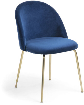 La Forma Australia Gianni Dining Chair Gold Legs With Blue Velvet