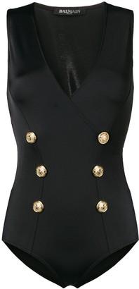Balmain embossed button swimsuit