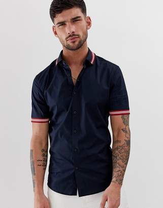 Asos Design DESIGN poplin skinny fit shirt with rib collar & cuffs-Navy