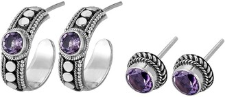 Samuel B. Sterling Silver Amethyst Hoop & Stud Earrings Set