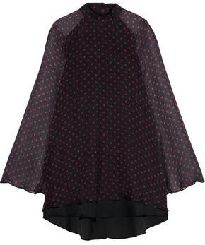 RtA Ariana Layered Polka-dot Silk-chiffon Mini Dress
