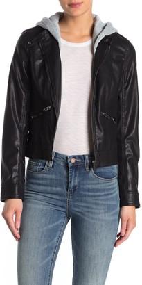 Blanknyc Denim Removable Hood Faux Leather Moto Jacket