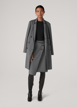 St. John Graphic Twill Knit Skirt W/ Leather Trim
