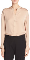 Vince Band-Collar Stretch-Silk Pintuck-Placket Blouse