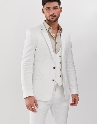 Asos Design DESIGN super skinny suit jacket in white linen