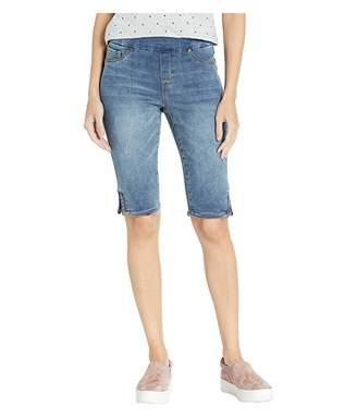 Tribal Knit Denim Pull-On Shorts w/ Braid Detail in Medium Wash