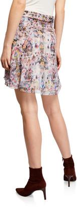 IRO Orchus Gathered Silk Printed Short Skirt