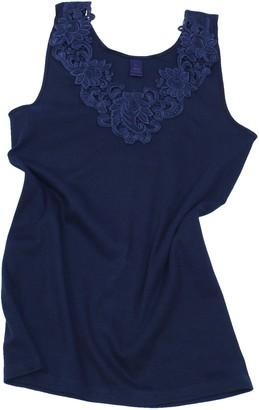 Van Cleef & Arpels Ladies Shirt - Undershirt Underwear With Extra Large Lace 100% cotton (Marine Blue) (16 / 18)
