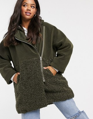 French Connection faux fur zip through oversize teddy coat in green