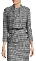 Michael Kors Wool Houndstooth Cropped Jacket