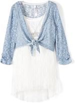Beautees White Sleeveless Dress & Blue Tie Cardigan Set - Girls