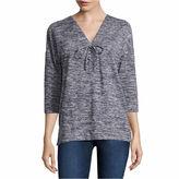 Liz Claiborne Elbow Sleeve Sweatshirt-Talls
