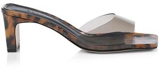 Schutz Onoria Vinyl & Leopard-Print Patent Leather Mules