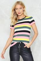 Nasty Gal The New Knit on the Block Striped Tee