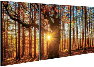 Chic Home Design Botanical Forest 3Pc Set Wrapped Canvas Wall Art