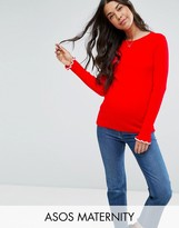 Asos Jumper In Rib With Tipping And Ruffle