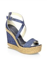 Jimmy Choo Portia 120 DFW Metallic Denim Espadrille Wedge Sandals