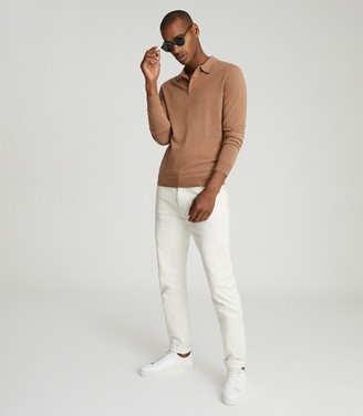 Reiss Trafford - Merino Wool Polo Shirt in Camel
