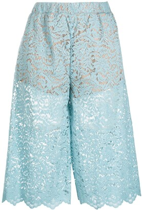 Semi-Couture Scalloped Floral-Lace Shorts