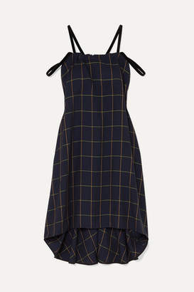 McQ Fluted Velvet-trimmed Checked Woven Dress