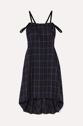 McQ Fluted Velvet-trimmed Checked Woven Dress - Navy