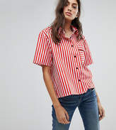 Reclaimed Vintage Inspired Oversized Boxy Shirt With Piping Detail & One Pocket