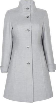 Wallis PETITE Grey Faux Wool Funnel Neck Coat