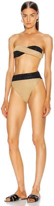 Oseree Twist Two Piece Bikini in Gold & Black   FWRD