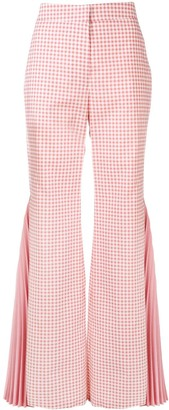 Sara Battaglia Gingham Pleated Flared Trousers