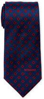 Missoni Navy & Red Square Pattern Silk Tie