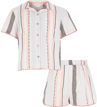 River Island Girls white stripe shorts pyjama set
