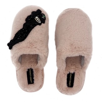 Laines London Closed Toe Pink Fluffy Slippers With Jet Panther
