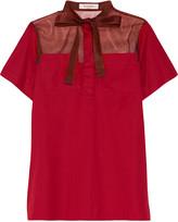 Valentino Silk organza-paneled cotton-poplin top
