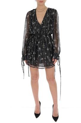 Amiri Floral Print Deep V-Neck Dress