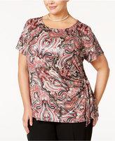 MSK Plus Size Paisley-Print Faux-Wrap Top
