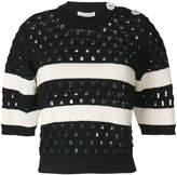 Sonia Rykiel striped short-sleeve knitted top