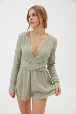 Out From Under Hanna Wrap Front Playsuit - Grey XS at Urban Outfitters