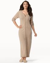 Soma Intimates Long Zip Cashmere Robe Heather Sand