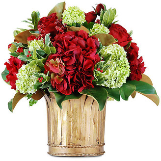 "One Kings Lane 17"" Rose & Hydrangea Arrangement with Vase - Faux - arrangement, red/green; vessel, gold"