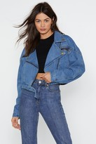 Nasty Gal Womens Nice Ride Denim Moto Jacket - blue - 6